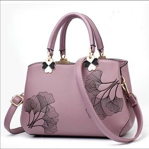 Leather Embroidered Purple Tote Shoulder Purse bag